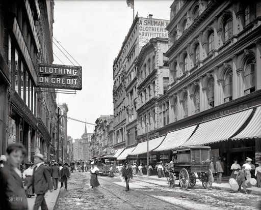"Boston circa 1906. ""Washington Street north from Temple Place."""