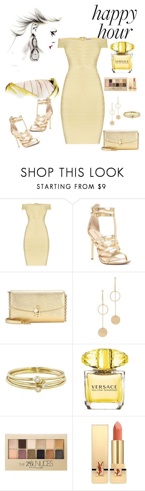 """""""Untitled #301"""" by aida0488 ❤ liked on Polyvore featuring Hervé Léger, Chinese Laundry, Dolce&Gabbana, Cloverpost, Jennifer Meyer Jewelry, Versace, Maybelline and Yves Saint Laurent"""