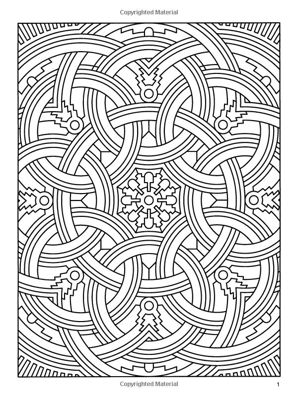 Deco tech geometric coloring book coloring therapy for Geometric coloring books for adults