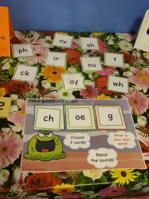 All ready on the Phonics Application Station table in prep for our screening tests next week - alien word card from TeachersPet