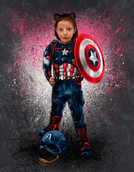 Gran fan de Disney y de Marvel. Ilustración de una niña de 6 años como Capitán América.