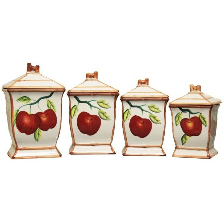 Apple Kitchen Decor Ceramic #Canister Set Food Storage Containers 4PC Autumn New  #Handmade