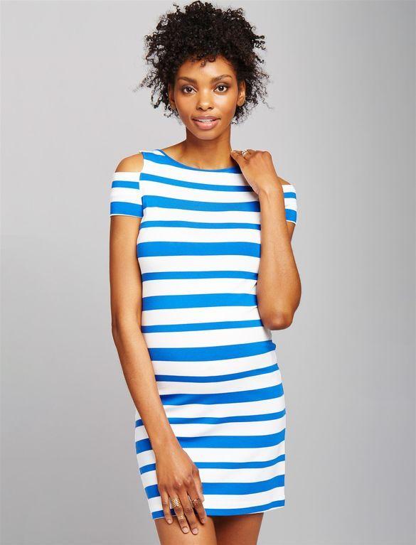 Pietro Brunelli Cold Shoulder Striped Maternity Dress, Blue/White