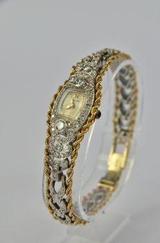 Art Deco - zegarek damski Hamilton, złoto / brylanty 2,40 ct, lata 30.XX wieku