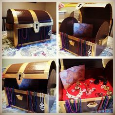 Cardboard pirate treasure chest for our Halloween Trunk or Treat. So easy to make. Cardboard box, gold duct tape, paint. So happy with how it came out!