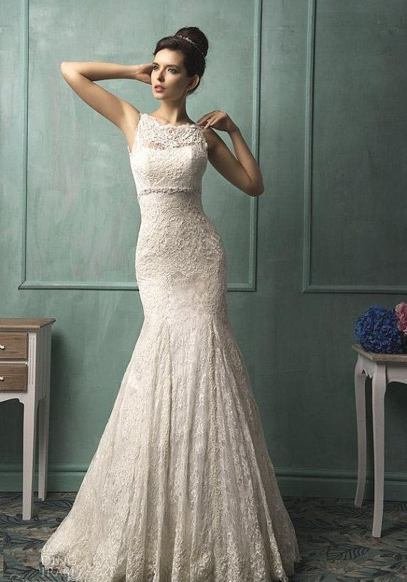 Backless Wedding Dresses Mermaid Sheer Crew Neck Sleeveless Court Or Floor Train Lace Bridal Gown