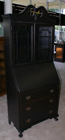 painted black queen anne secretary desk