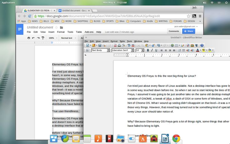 LibreOffice on Elementary OS Freya.