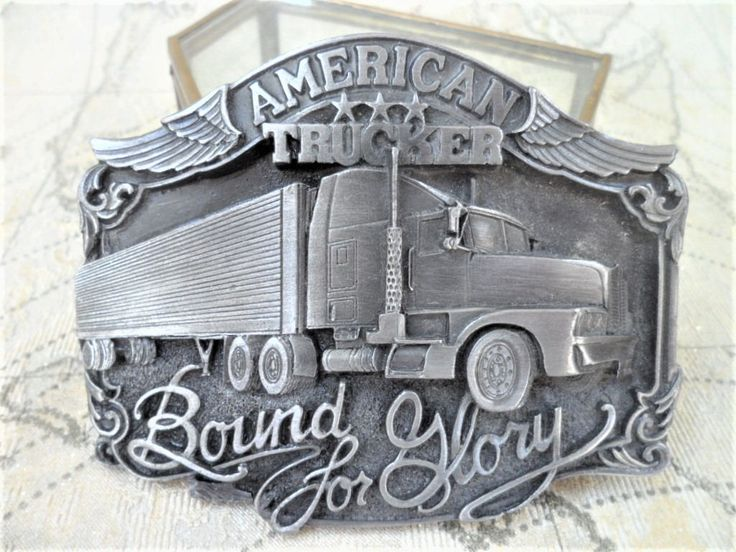 Siskiyou Belt Buckle American Trucker Bound for Glory 1989 Oregon USA Vintage Pewter Effect Mens Accessories by BelieveToBeBeautiful on Etsy