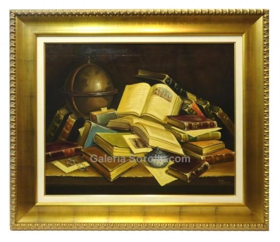 Piñeiro : Books. Medium: Oil on canvas Measurements (cm): 107x91 Canvas measurements (cm): 81x65 Interior frame: Yes. Magnificent still life of books. The quality of the details predominates, and highlights the colours employed in in the work, in which the artist gives importance to the composition as a whole. Classic realist painter as we can prove in this oil painting.  $1,159.53