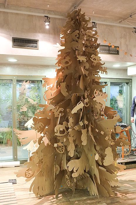 Cardboard Christmas tree and ornaments!