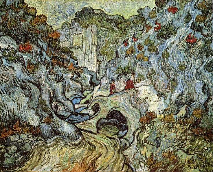 The ravine of the Peyroulets - Vincent van Gogh - Painted in December 1889 while in the Saint-Rémy Asylum - Current location: Rijksmuseum Kröller-Müller, Otterlo, Netherlands ...............#GT