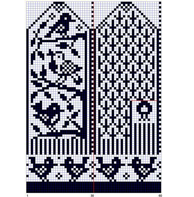 Bird Mitten chart pattern by Hanneke Sieben | вязание(жаккард,вышивка) | Постила