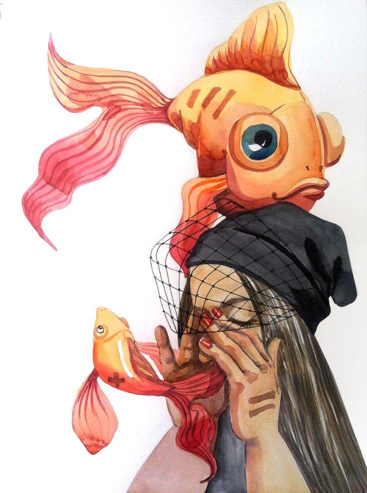 dream, illustration, watercolor, fish, girl, emotion,love