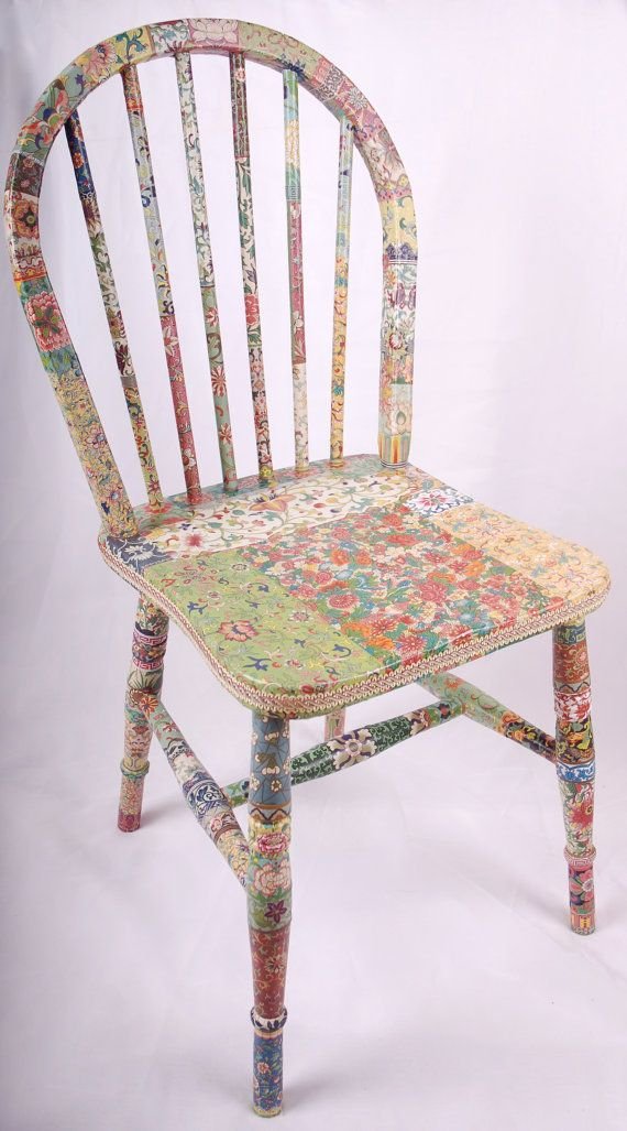 wooden chair decoupage Fleur por kitschemporium en Etsy