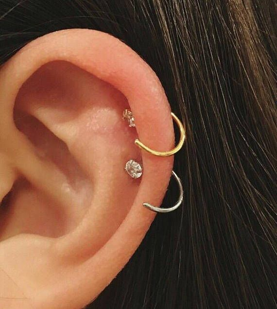 CZ Simple cartilage hoop silver nose ring Tragus ring