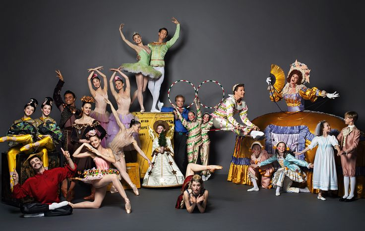 Characters from the Land of Sweets: Tea, Hot Chocolate, Marzipan Shepherdess, Flowers, Dewdrop, the Sugarplum Fairy and her Cavalier, an angel, ballet master in chief Peter Martins, Coffee, Candy Canes, Mother Ginger and her Polichinelles, the Little Prince and Princess. PHOTOGRAPH BY HENRY LEUTWYLER.
