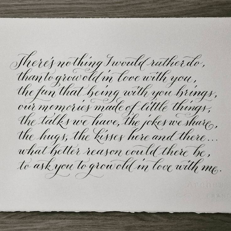 Calligraphy makes an ideal wedding anniversary gift