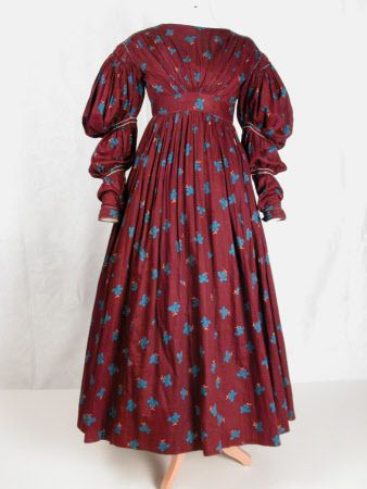 Day dress, printed cotton sateen lined with glazed cotton, 1836, point of origin not listed,  National Trust inventory no. 1363249