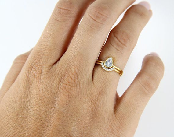 Pear Cut Engagement Ring with a Pave Curved Ring  Bridal by GULIAN