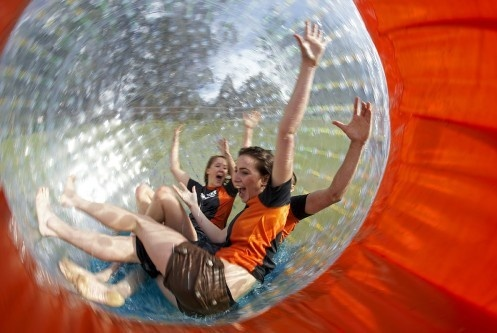 Zorb (noun) Zorbing (verb). The Zorb is another New Zealand invention - purely for fun.