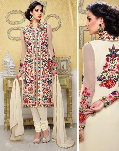 USD 75.88 Cream Flower Patch Work Churidar Suit 40717