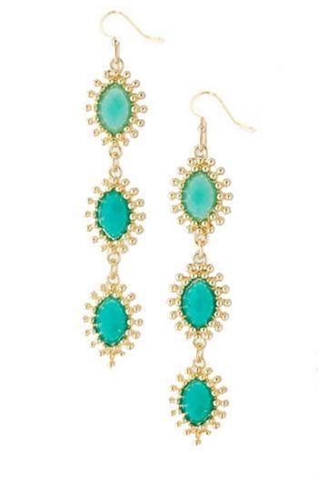 Linear Droplet Earrings - Aqua