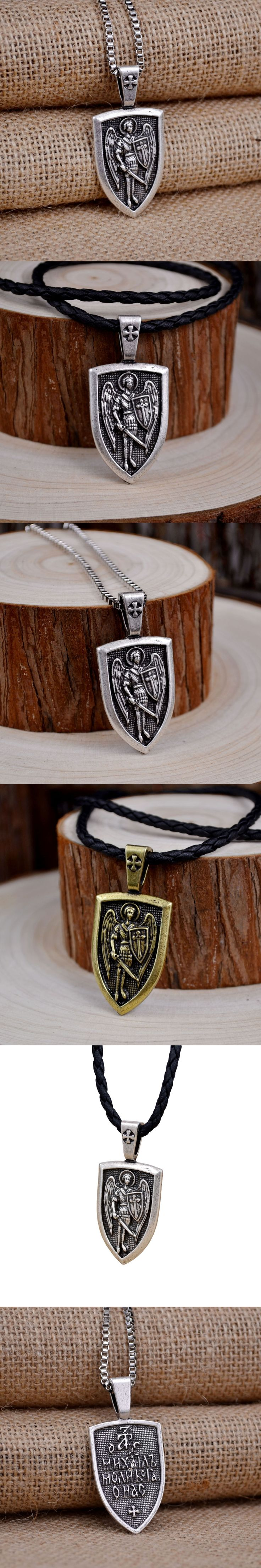 Men Necklace Archangel St.Michael Protect Me Saint Shield Protection Charm Russian Orhodox Pendant Necklace