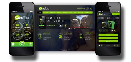 OneTab Australia's new App skin, website and mobile responsive website design. A great way to enjoy a night out without cash, cards or an ATM!