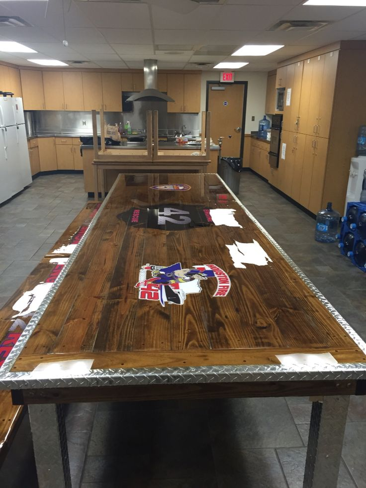 Hfd fire station dinner table fire station table for Concreteworks fire table