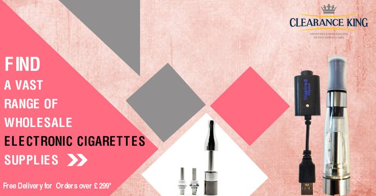 Find a Vast Range of Wholesale #Electronic #Cigarettes Supplies From Clearance King UK's No.1 Wholesale Supplier.Free Delivery For Orders Over Pound 299.Shop Now:http://goo.gl/JSb3G4