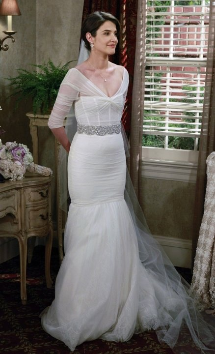 """Robin (Cobie Smulders) is revealed to be Barney's (Neil Patrick Harris) bride on """"How I Met Your Mother"""" (2012)."""