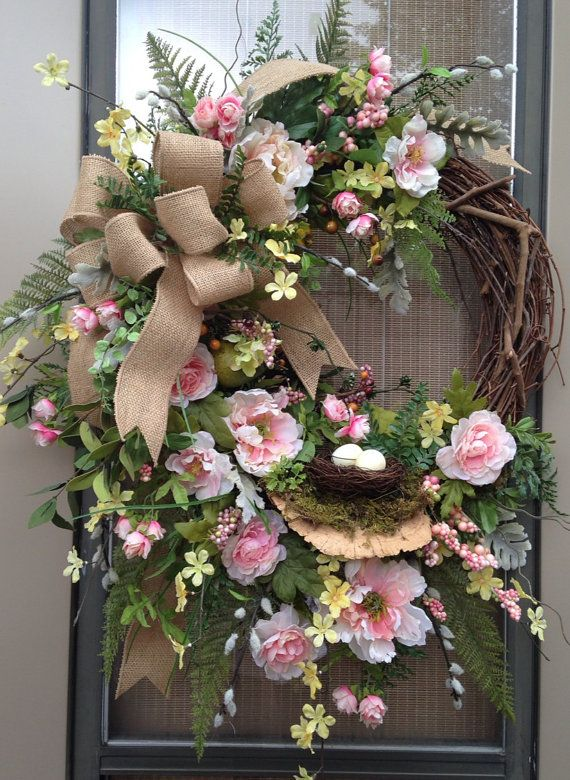 """""""BLUSHING PEONIES"""" - Vintage Chic - Shabby Cottage - Woodsy - Spring Summer Wreath with Mushroom, Bird's Nest & Eggs, $ 179.95 by DecorClassicFlorals on Etsy"""