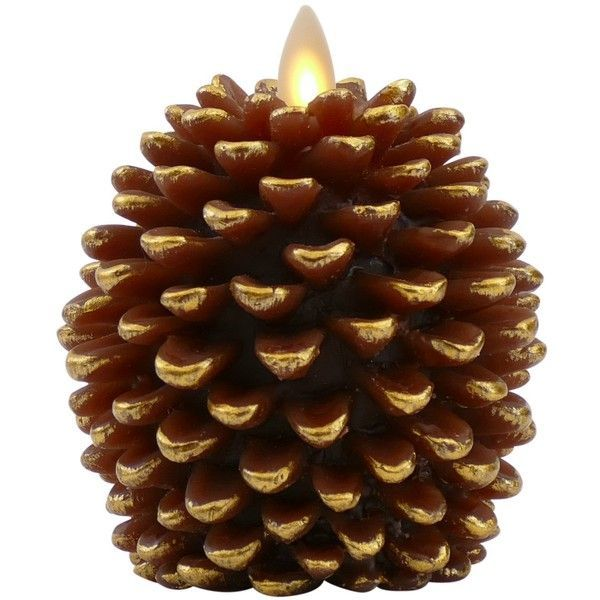 Luminara Pine Cone Candles 3.5 x 4 Unscented, Battery Operated,... ($58) ❤ liked on Polyvore featuring home, home decor, candles & candleholders, battery operated candles, pine cone candles, luminara flameless candles, luminara battery operated candles and brown home decor #ledchristmascandles