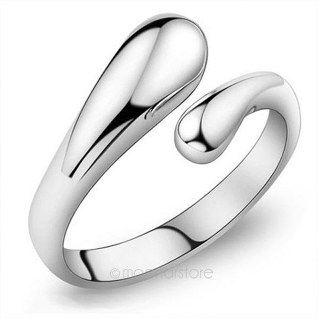 Silver Plated Fashion Lady Ring Finger Opening Adjustable