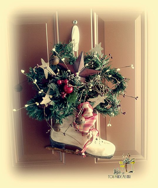 Flea Market Skates aged to make fun Christmas Wreath... You Made Me Ink!