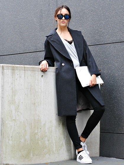 Céline Celine Sunglasses, H&M Grey Oversized Coat, Zara White Clutch, Adidas Superstar 2, Black Skinny Jeans, H&M Black Lace Shirt, Grey Sweater
