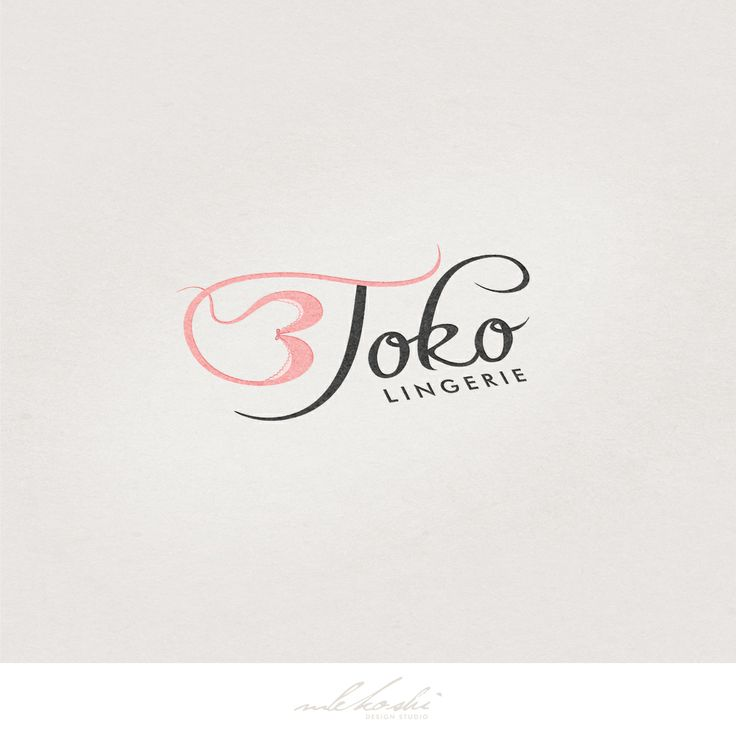 Chic and cute logo design created for lingerie company - 3Toko. Feminine, pink and soft logo design. Whimsical logo, lingerie logo, underwear.