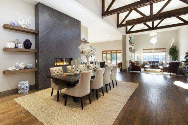 Znalezione obrazy dla zapytania fireplace in dining room