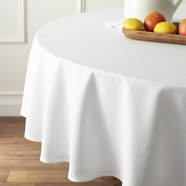"Crate & Barrel Abode White 90"" Round Tablecloth"