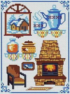 Cross Stitchers Club. fireplace, chair, window scene. kettle