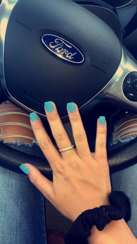 #nails #acrylic #square #babyblue #blue #short