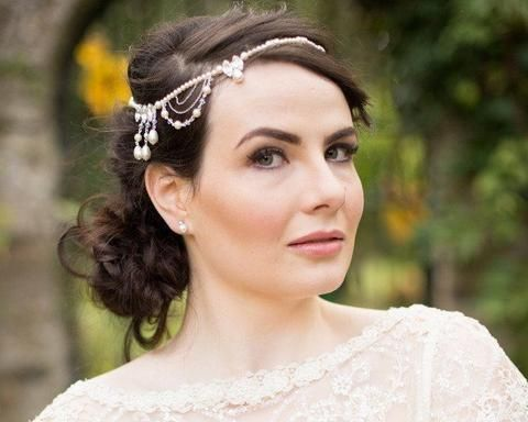 Pearl/Crystal Hair Drapes - Wedding Forehead Draped Headpiece With Jewelled Features, Venus