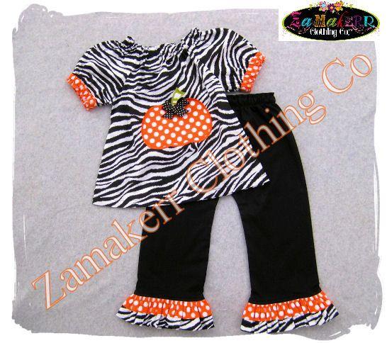 Girl Zebra Pumpkin Outfit  Thanksgiving by ZamakerrClothingCo, $46.99