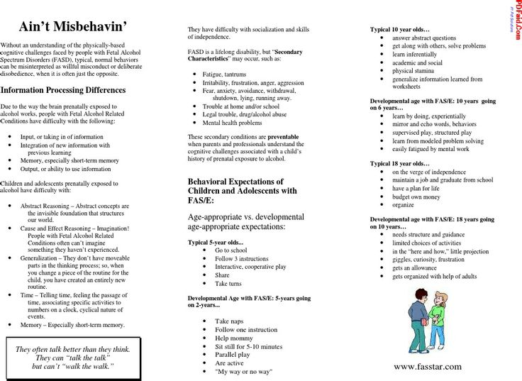 FASD Brochure For Teachers Aint Misbehaving FASD SPD