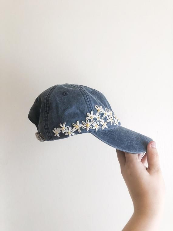 Hand Embroidered Hat - custom embroidered hat - floral