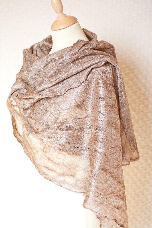 Cobweb felt - so pretty!  gorgeous wet felt shawl