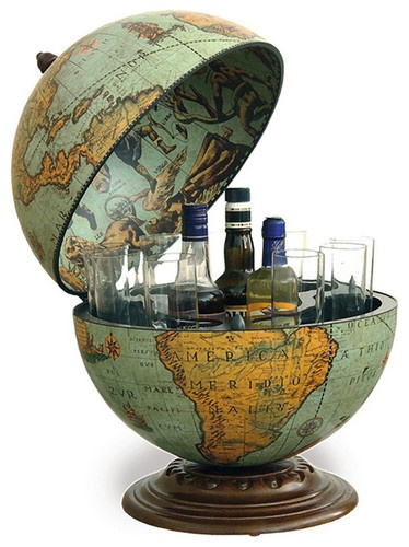 How funky is this???   Fine Vintage Desk Globe Bar - traditional - bar tables - other metro - Bar Globe World