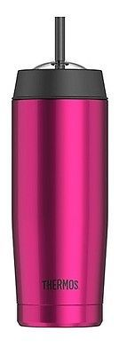 Thermos Vacuum Insulated Stainless Tea Water Beverage Straw Cold Cup 18oz Pink
