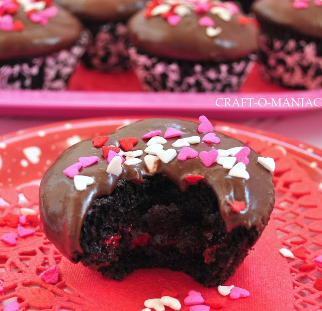 Craft-O-Maniac: Chocolate Raspberry Filled Cupcakes with Homemade Hershey's Chocolate Frosting ...YUM!